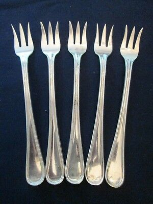 SET 5 SEAFOOD FORKS! Vintage REED & BARTON silverplate: WAVERLY pattern: LOVELY