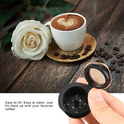 2* Stainless Steel Reusable Coffee Capsules Pods &Spoon For Nescafe Dolce Gusto