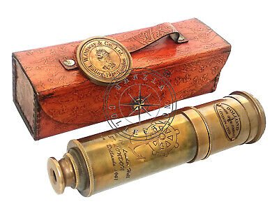 """18"""" Dollond London Antique Brass Telescope Nautical Spyglass With Leather Case"""