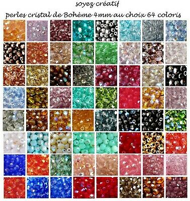 "LOT 50 PERLES CRISTAL BOHÈME 4 mm TOP QUALITÉ 64 coloris ""p/OR 24 carats""/pko/"