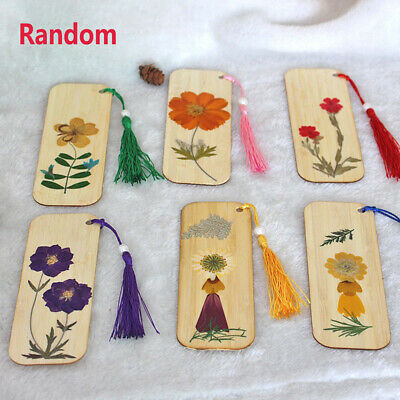 DIY Retro Dried Flowers Bamboo Material Bookmarks Chinese Style Bookmark