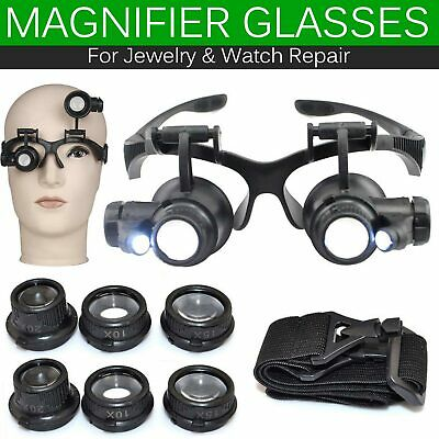 Magnifying Magnifier Eye Glass Loupe Jeweller Watch Jewelry Repair +LED Light UK