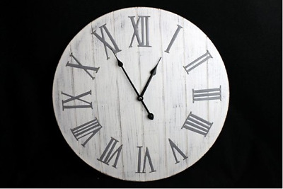 Wall Clock New England 50cm Silver Grey & White SIL NEW (P)