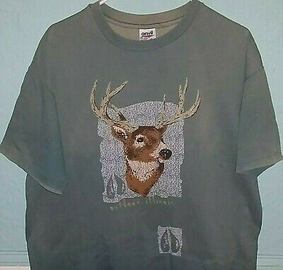 5793eabdf076b 90's Vintage Outdoor Illinois Deer Wildlife T-Shirt - Size XL - Anvil USA  Tag