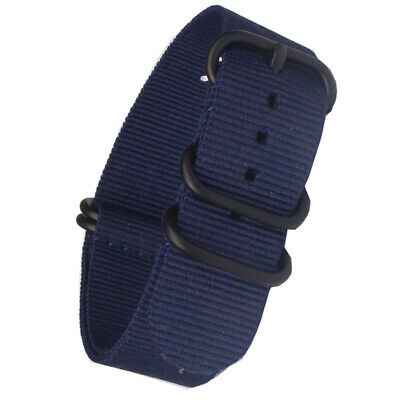 Stainless steel PVD Black Buckle18 20 22 24mm Navy Nato Nylon Watch Strap Band