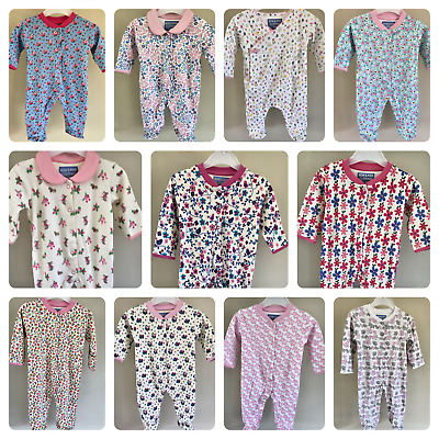 Ex Store Baby Girls Floral Flower Sleepsuits Babygrow NB 3 6 9 12 18 Months New