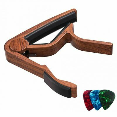 Quick Clip Release Acoustic Classic Electric Guitar Capo Wooden Alloy Clamp Bass