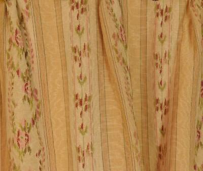 Amazing Pair Antique French Chateau Curtains, Silk Moiré / Brocade 19th C  B955a