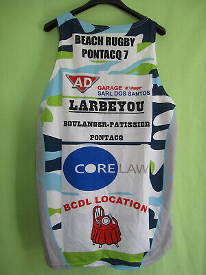 Maillot Beach rugby pontacq 7 polyester Plage Jersey Vintage - L