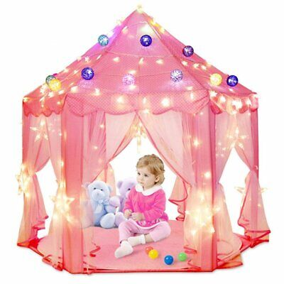 Deluxe Kids Princess Castle Play House for Girls Boy Hexagon Toy Tent With Light