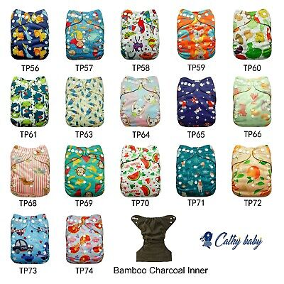 CATHY BABY Cloth Diapers Reusable Washable Pocket Nappy Adjustable Cover Wrap