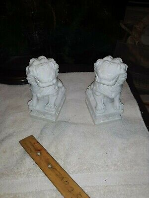 Vintage pair  unmarked Chinese White Marble Stone foo dogs