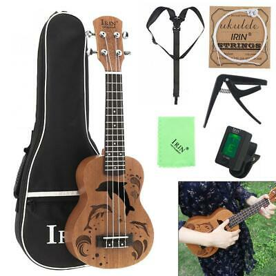 21Inch Ukulele Soprano Sapele Wood 4 Strings Guitar + Bag + Tuner + Strings Sets