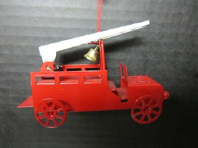 Pressed Steel Fire Engine Christmas Tree Ornament With Ladder and Bell