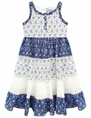Domino Girl/'s 100/% cotton Rose Print Lace Trim Gypsy Sun Dress Age 3 to 11 Years