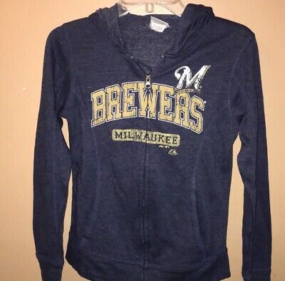 cheaper c0ba4 7db2a MILWAUKEE BREWERS WOMANS Majestic Full Zip Hoodie Sz Med - EX