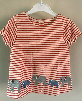 Ex Baby Boden Girls Pink Stripe Elephant Short Sleeve Top Age 12/18 & 18/24 Mths