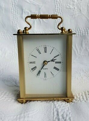 Vintage Kienzle Quartz Mantle Clock With Gold Tone Brass&Handle.Made In Germany.
