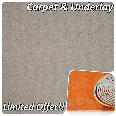 SUPERSOFT 16mm Thick Cream Beige Saxony Action Back 4m Carpet Remnant/Roll End