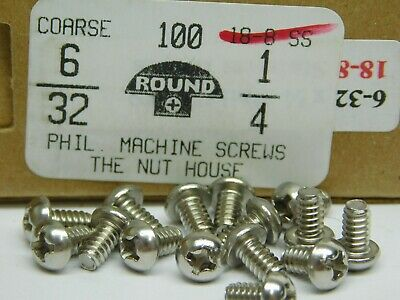 "(100 PACK!) #6-32 x 1/4"" Round Head Phillips Drive 18-8 Stainless Steel NH"