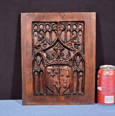 *French Antique Gothic Revival Panel in Solid Chestnut Wood Salvage