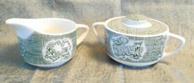 Vintage Royal China Green The Old Curiosity Shop Creamer & Sugar with Lid