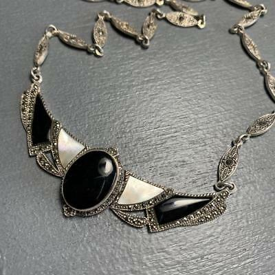 Vintage Art Deco Signed Sterling Silver Onyx MOP Marcasite Necklace