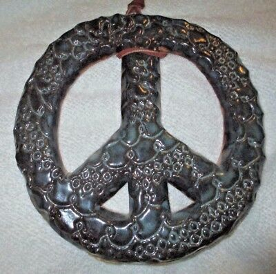 "PEACE SIGN Wall Art Hand Made Pottery Clay Hanging Home Decor 7"" diameter Signed"