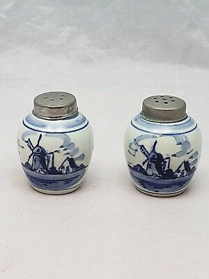 Collectible Delft Salt Pepper Shaker Set Handpainted Windmill Blue and White