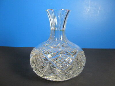 Antique American Brilliant Period Cut Crystal Carafe Spirits Pitcher Decanter