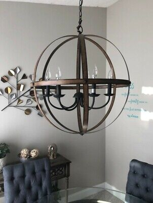 6 Light Rustic Chandelier Round Metal Cage Farmhouse Dining