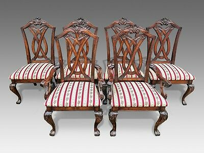 Exquisite very rare set of 6 Chippendale style chairs, Pro French polished