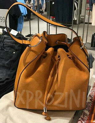 1a983a2a733 ZARA LEATHER BUCKET Bag With Handle Detail Ref. 4002/104 Nwt ...