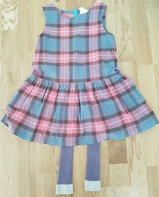 Mini Boden 5-6 years girl footless tights dress  sparkly tartan winter outfit