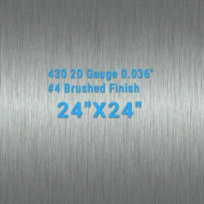 "430 Stainless Steel Sheet #4 Brushed 20 Gauge 0.036"" inch/0.91mm 24"" x 24"" inch"