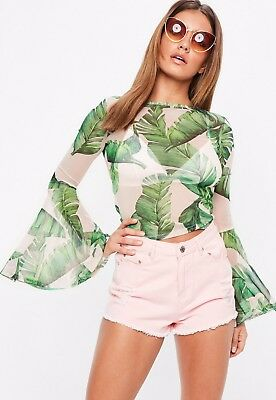 d195945c993983 BNWT Missguided Mesh Top Size 8 Palm Leaf Flare Sleeve Crop Pink Green  Festival