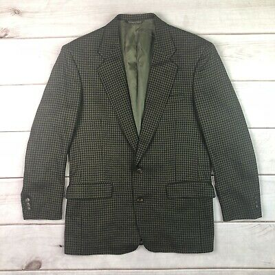 Vintage Man In Wool Men's 44 Olive Green Houndstooth Blazer Jacket Sport Coat