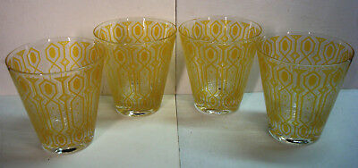 Culver - Gothic Windows - Yellow Gold Old Fashioned Cocktail Glasses - Set of 4