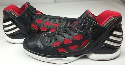 55717f7c3749 Adidas Men s Derrick Rose Basketball Shoes Black w Red adizero EUC! Size 10  ½