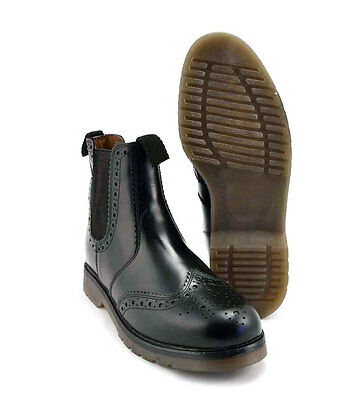 Mens Leather Brogue Chelsea Dealer Boots Cushion Soles Grafters Black UK3 - 14