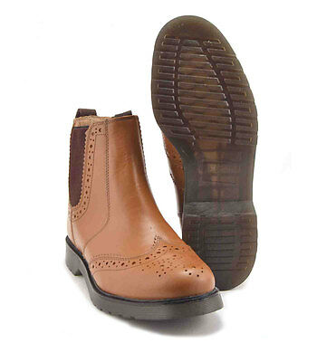 Mens Leather Brogue Chelsea Dealer Boots Cushion Soles Grafters Brown UK3 - 14