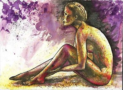 Original Nude woman painting naked woman abstract watercolour home decor room