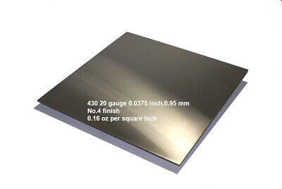"""430 Stainless Steel Sheet 20 Gauge 0.0375 inch 0.95 mm Price per Square 16"""" inch"""
