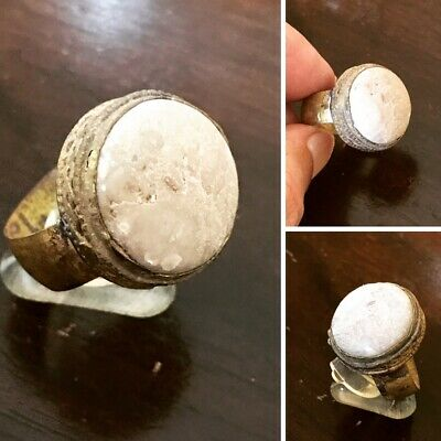 Antique Islamic spiritual 19AD similar to habhab stone old one bronze man ring10