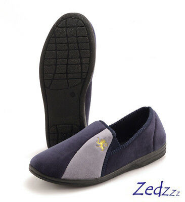 430302824c8d Mens Slippers Zedzzz Aaron Luxury Blue   Grey Velour Slip-on in Sizes UK 6