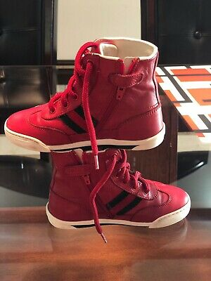 7e2176b28bf Gucci Kids Original High Top Leather Red Sneakers Size 8 Toddler Made In  Italy
