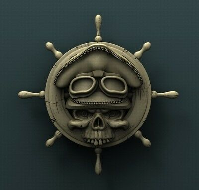3d STL Model Relief for CNC Router  _ (0474) Anchor Skull
