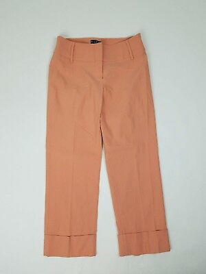Bebe Womens Pants Size 8 Cropped Rolled Peach Pink Flat Front