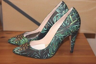 06288a8d7be New Zara Leather High Heel Shoes With Tropical Print Size 6.5