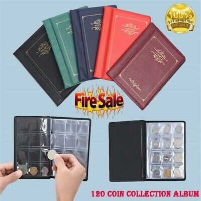 120 Coin Collection Folder Collecting Money Pound Penny Album Pocket Book UK
